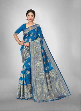 Art Silk Aqua Blue Trendy Saree