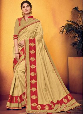 Art Silk Beige Traditional Designer Saree