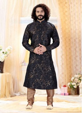 Art Silk Black Kurta Pyjama