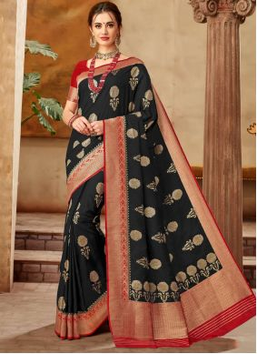 Art Silk Black Weaving Classic Saree
