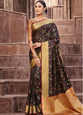 Art Silk Black Weaving Designer Traditional Saree