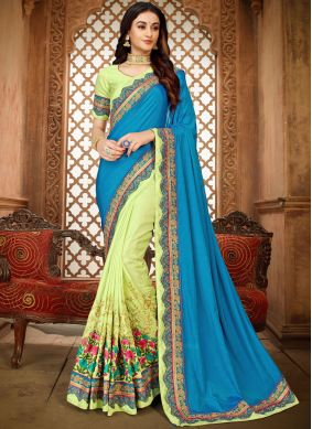 Art Silk Blue and Green Patch Border Classic Designer Saree