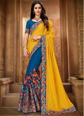 Art Silk Blue and Yellow Embroidered Trendy Saree