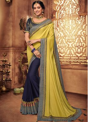 Art Silk Blue and Yellow Patch Border Designer Traditional Saree