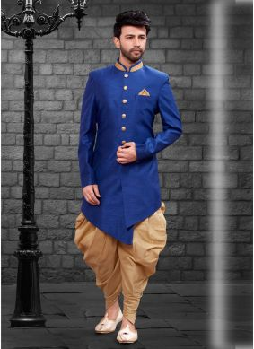 Art Silk Blue Plain Indo Western