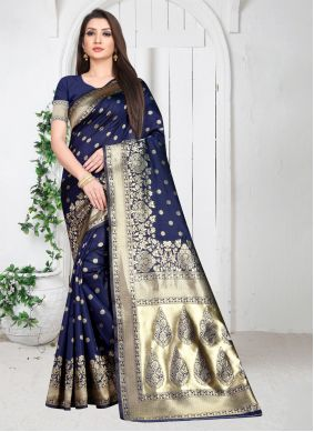 Art Silk Blue Weaving Casual Saree