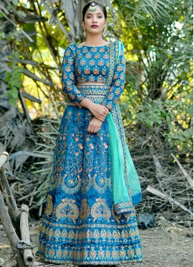 Art Silk Blue Zari Lehenga Choli