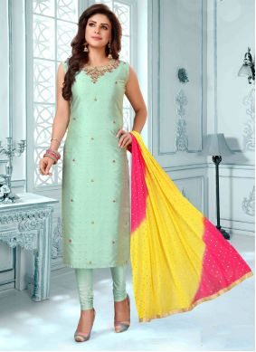 Green Art Silk Ceremonial Trendy Churidar Salwar Kameez