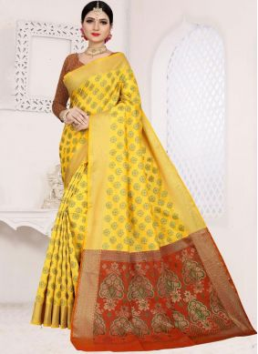 Art Silk Cotton Casual Saree in Yellow