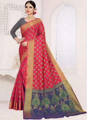 Art Silk Cotton Hot Pink Casual Saree