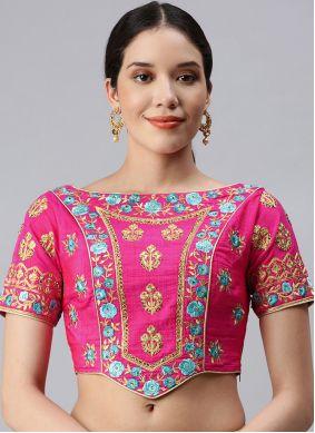 Art Silk Designer Blouse in Fuchsia