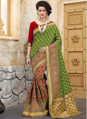 Art Silk Designer Half N Half Saree in Green and Red