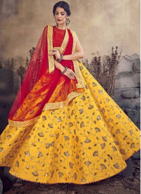 Art Silk Designer Lehenga Choli in Mustard