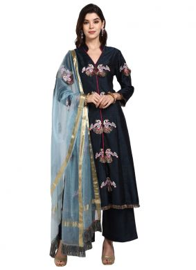 Art Silk Designer Pakistani Suit in Blue