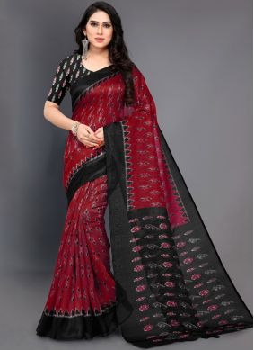 Art Silk Designer Traditional Saree in Red