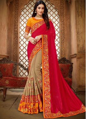 Art Silk Embroidered Beige and Hot Pink Classic Saree