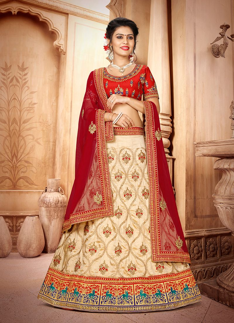 Art Silk Embroidered Beige Trendy Lehenga Choli
