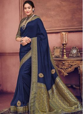Art Silk Embroidered Blue Designer Traditional Saree