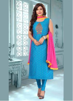 Blue Art Silk Embroidered Bollywood Salwar Kameez