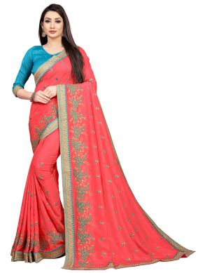 Pink Art Silk Embroidered Bollywood Saree