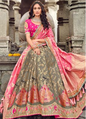 Art Silk Embroidered Designer Lehenga Choli in Brown