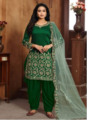 Art Silk Embroidered Designer Patiala Suit in Green