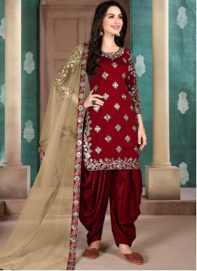 Art Silk Embroidered Designer Patiala Suit in Maroon