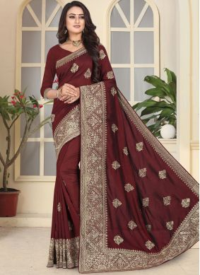Art Silk Embroidered Designer Traditional Saree in Maroon