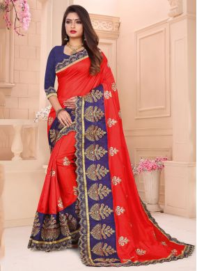 Art Silk Embroidered Designer Traditional Saree in Red