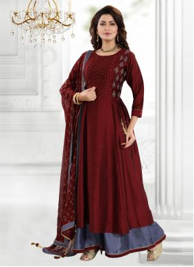 Art Silk Embroidered Maroon Readymade Suit