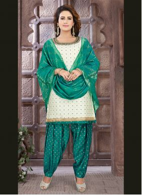 Art Silk Embroidered Off White Readymade Suit