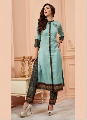 Art Silk Embroidered Party Wear Kurti in Aqua Blue