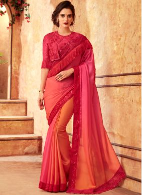 Art Silk Embroidered Pink Shaded Saree