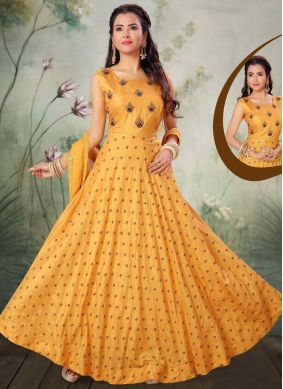Art Silk Embroidered Salwar Suit in Yellow