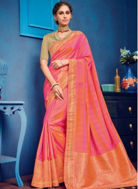 Art Silk Embroidered Traditional Designer Saree in Pink
