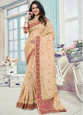 Art Silk Embroidered Traditional Saree in Cream