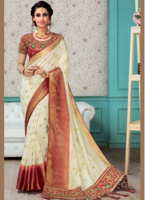 Art Silk Embroidered White Designer Traditional Saree
