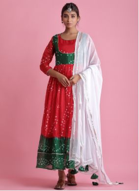 Red Art Silk Festival Readymade Suit