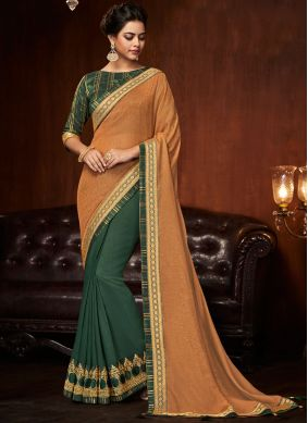 Art Silk Green and Peach Designer Half N Half Saree