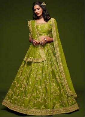 Art Silk Green Embroidered Lehenga Choli