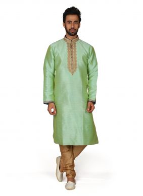 Art Silk Green Kurta Pyjama