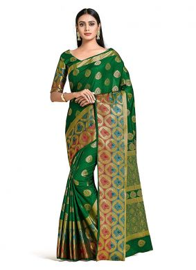 Art Silk Green Printed Designer Traditional Saree