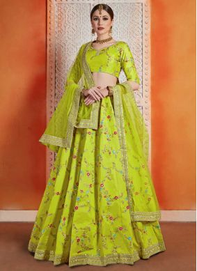 Art Silk Green Sequins Designer Lehenga Choli