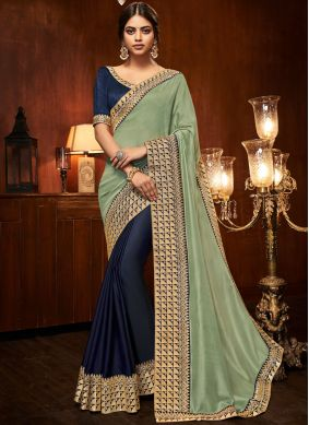 Art Silk Half N Half  Saree in Blue and Green