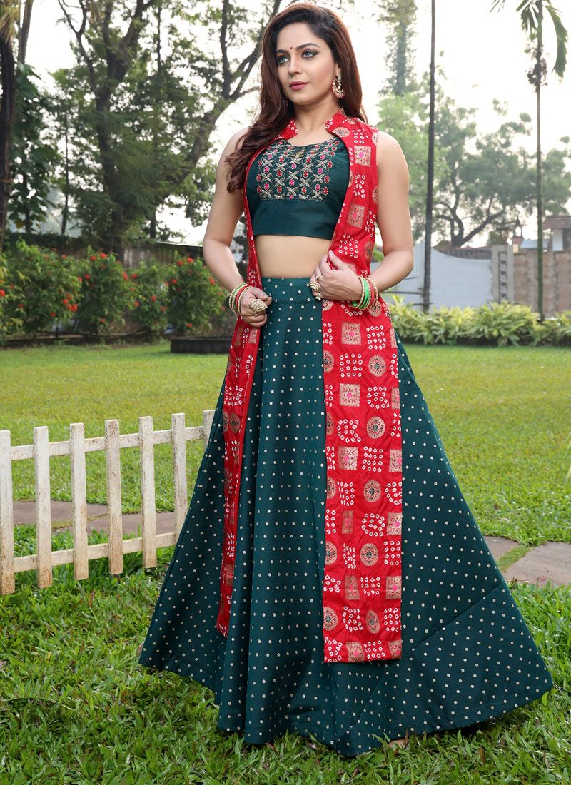 Art Silk Handwork Green Designer Gown
