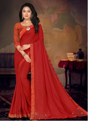 Red Art Silk Lace Saree