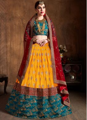 Art Silk Lace Yellow Lehenga Choli