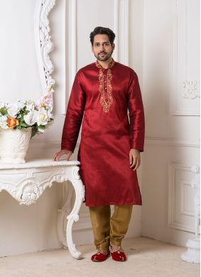 Art Silk Maroon Embroidered Kurta Pyjama