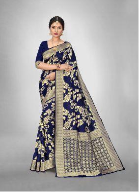 Blue Art Silk Mehndi Trendy Saree