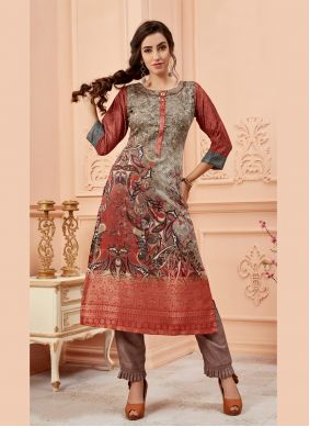 Art Silk Multi Colour Party Wear Kurti